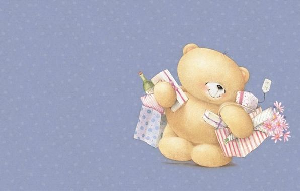 Картинка улыбка, настроение, праздник, арт, мишка, покупки, букетик, детская, Forever Friends Deckchair bear