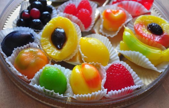 Картинка ягоды, еда, конфеты, фрукты, яркое, сладкое, мармелад, сладенькое, красовое