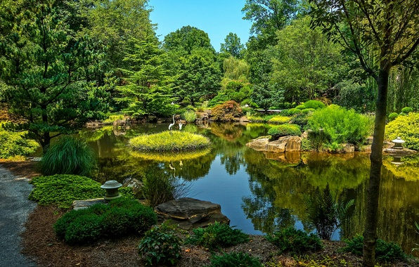 Картинка зелень, вода, деревья, пруд, парк, камни, США, Ball Ground, Gibbs Gardens