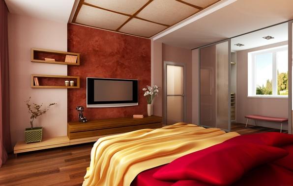 Картинка цветы, комната, кровать, дверь, телевизор, окно, спальня, полочки