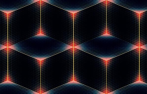 Картинка линии, углы, цвет, кубик, куб, полумрак, квадрат, ромб