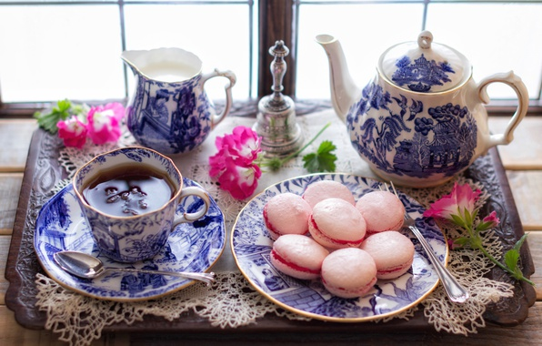 Картинка цветы, стиль, чай, сладость, чайник, печенье, чаепитие, кружка, чашка, поднос, макарон