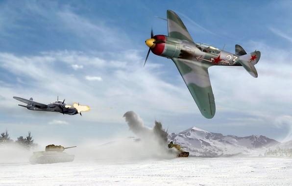 Картинка самолет, истребитель, арт, художник, СССР, сражение, fighter, ВВС, под, ВОВ, созданный, одномоторный, La-5, WW2., одноместный, …