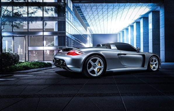 Картинка Porsche, Carrera, rear, silvery