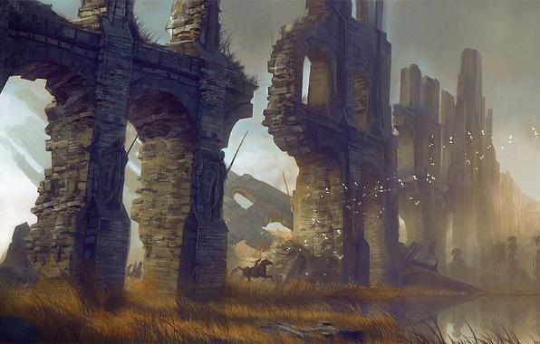 Картинка трава, птицы, озеро, стена, конь, арт, руины, кирпичи, арки, всадники, сухая, Levi Hopkins