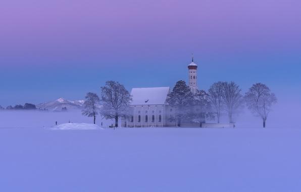 Картинка зима, снег, деревья, горы, Германия, Бавария, Альпы, церковь, дымка, Germany, Bavaria, Alps, Schwangau, Швангау, Sankt ...