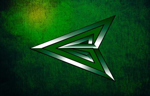 Картинка зеленый, фон, текстура, серебряный, царапины, центр, переливается, изумрудный, green arrow, зеленая стрела, боевой., наконечник
