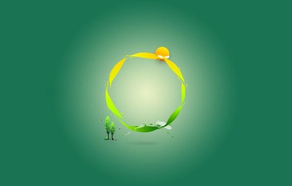 Картинка зеленый, круг, минимализм