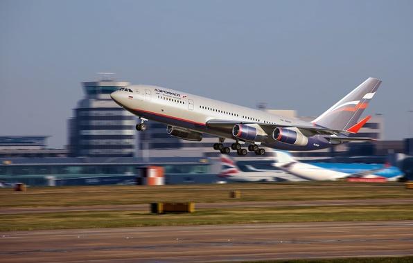Картинка полоса, скорость, аэропорт, самолёт, aircraft, взлёт, speed, airport, взлётная, Аэрофлот, Пассажирский, widebody, Ильюшин, Aeroflot, терминал, …