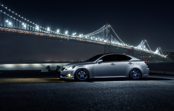 Картинка Lexus, Car, Front, Bridge, Night, Silver