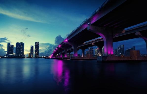 Картинка мост, огни, река, небоскребы, вечер, USA, Miami, Florida
