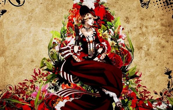 Картинка девушка, бабочки, цветы, узор, шляпа, веер