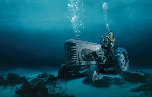 Картинка вода, пузыри, дно, аквалангист, трактор