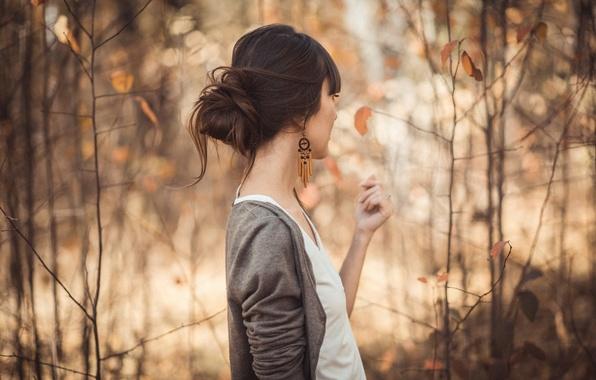 Картинка лес, листья, девушка, Осень, спиной