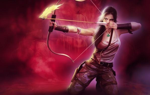 Картинка взгляд, девушка, лицо, оружие, фон, огонь, волосы, майка, лук, арт, стрела, Tomb Raider, целится, хвостик, ...