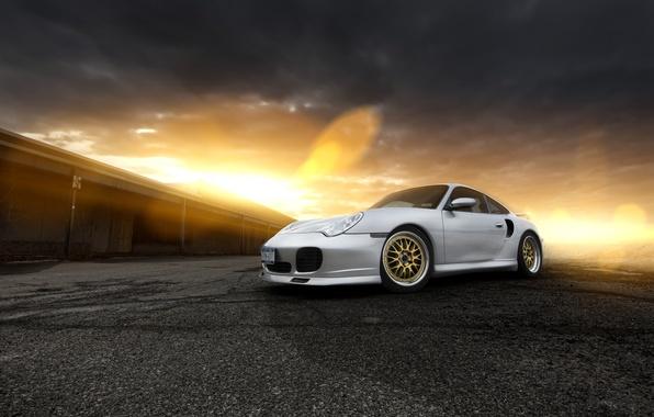 Картинка закат, блики, 911, Porsche, серебристый, порше, front, silvery