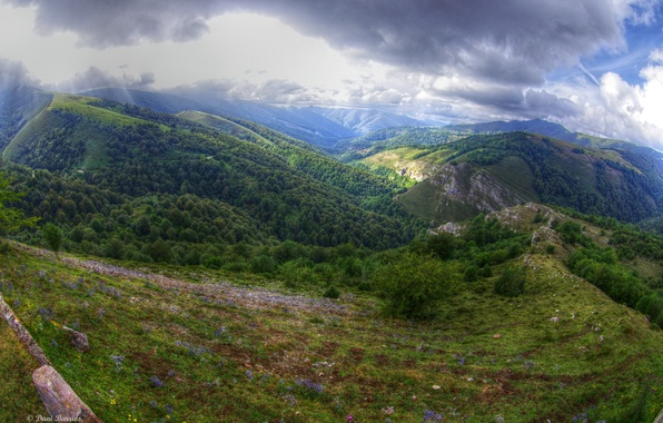 Картинка лес, небо, облака, горы, Clouds, Испания, Spain, трава., Кантабрия