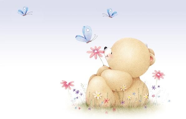 Картинка лето, настроение, бабочка, арт, мишка, детская, Forever Friends Deckchair bear