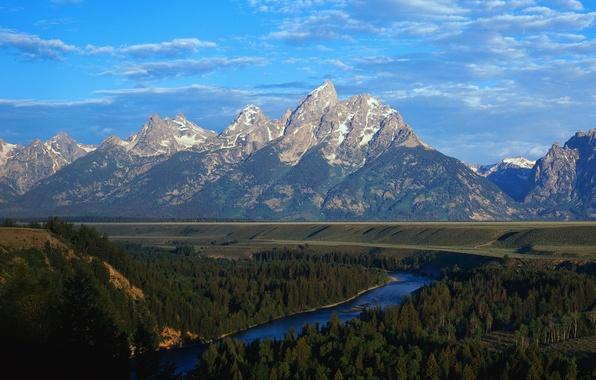 Картинка лес, горы, природа, река, вершины, долина