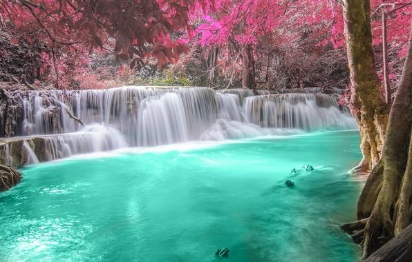 Картинка осень, лес, река, водопад, forest, river, landscape, waterfall, emerald