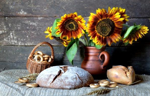 Фото обои натюрморт, хлеб, подсолнухи, кувшин, колоски, сушки