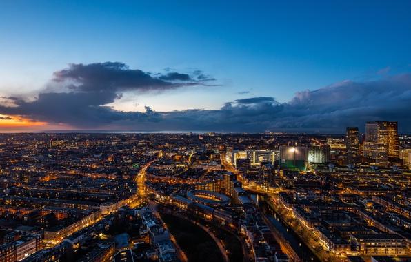Картинка закат, дома, панорама, Нидерланды, улицы, Гаага