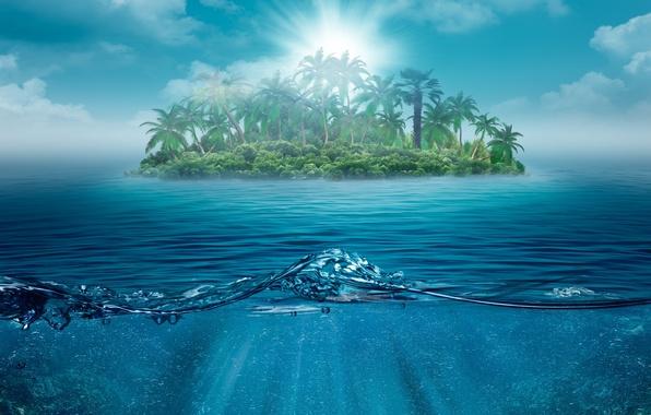 Картинка море, небо, вода, облака, деревья, пейзаж, природа, пальмы, океан, остров, Один, sky, trees, sea, ocean, …