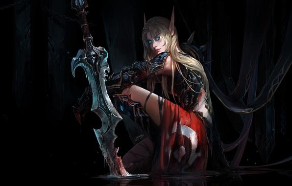 Картинка девушка, рисунок, меч, фэнтези, арт, блондинка, girl, sword, fantasy, голубые глаза, Blizzard, art, blue eyes, …