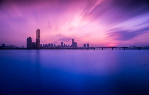 Картинка закат, мост, река, здания, South Korea, Сеул, Seoul, Южная Корея, река Ханган, Han River