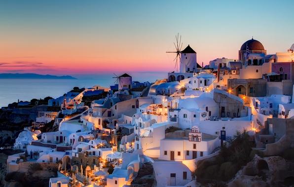Картинка закат, дома, Санторини, Греция, Oia, Notio Aigaio, szeke photography