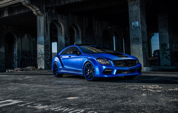 Картинка Mercedes, Benz, side, blue, CLS550