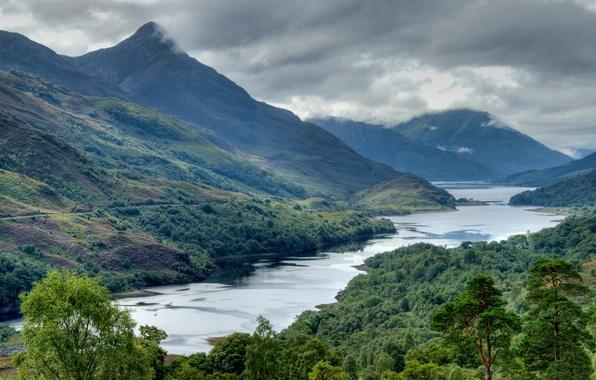 Картинка небо, вода, облака, горы, тучи, река, дерево, шотландия