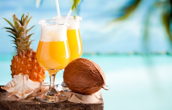 Картинка кокос, ракушка, коктейль, ананас