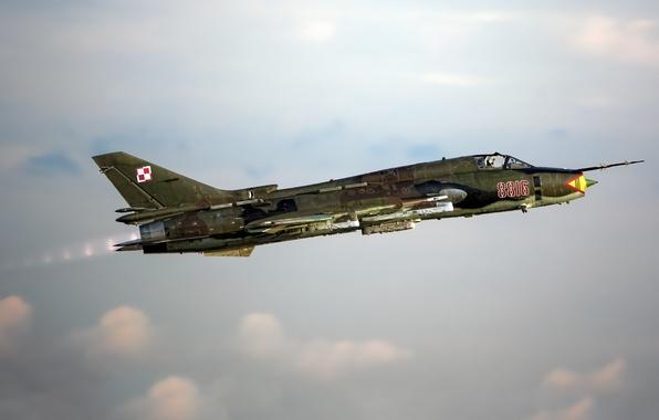Картинка небо, полет, Истребитель, бомбардировщик, Су-22