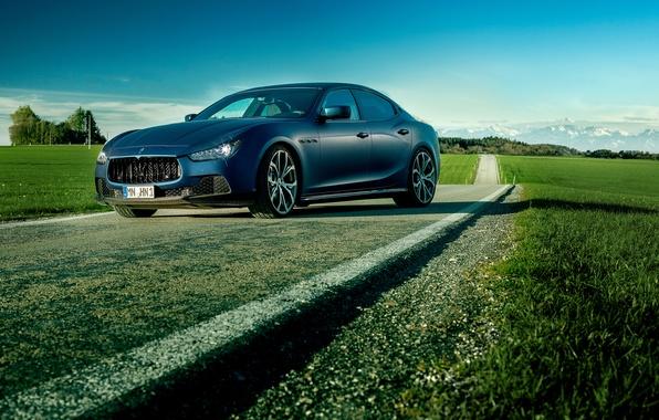 Картинка синий, фото, Maserati, автомобиль, Ghibli, роскошный, Novitec Tridente
