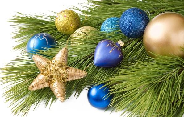 Картинка шарики, украшения, шары, игрушки, звезда, елка, ветка, Новый Год, Рождество, Christmas, синие, золотые, праздники, New …