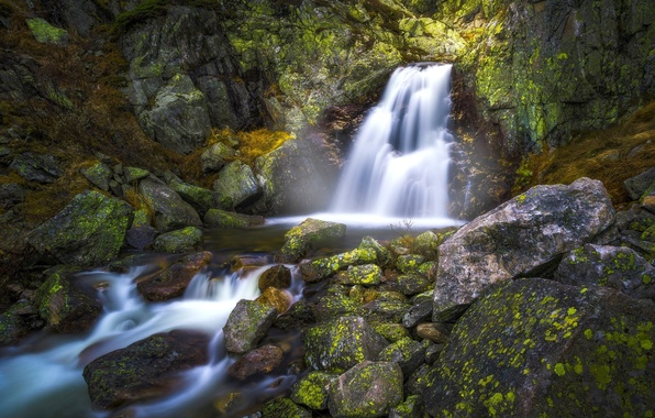 Картинка камни, водопад, Норвегия, Norway, Нурефьель, Norefjell