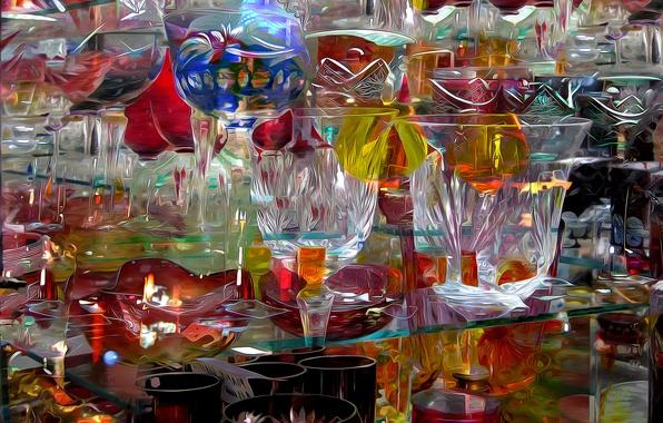 Картинка стекло, абстракция, рендеринг, бокал, хрусталь, посуда, ваза