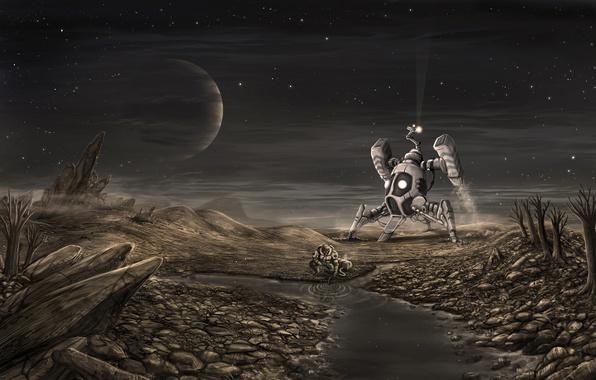 Картинка звезды, человек, Планета, посадка, водоем, космический корабль