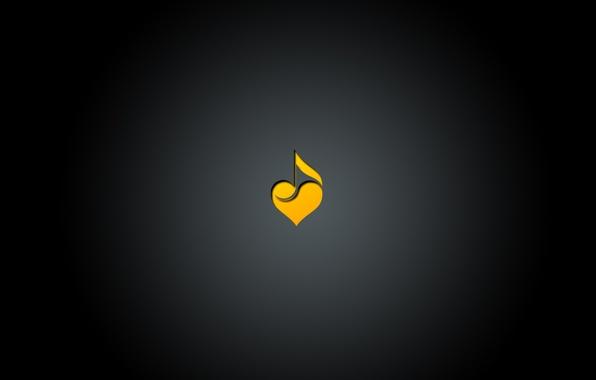 Картинка музыка, черный, сердце, минимализм, градиент, music, love, нота, центр