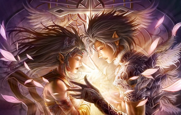 Картинка девушка, украшения, магия, эльф, крылья, крест, перья, руки, арт, профиль, парень, эльфийка, chrisnfy85