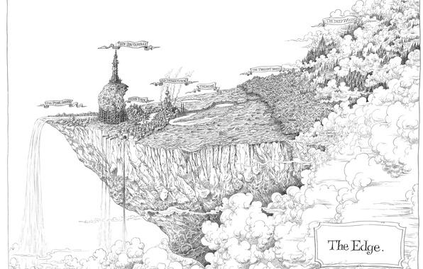 Картинка город, рисунок, край, фентази