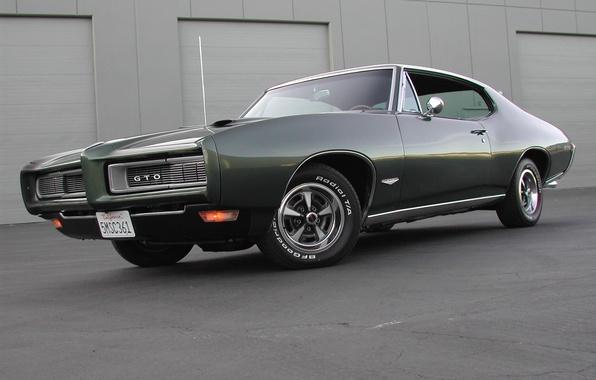 Картинка здание, 1969, мускул кар, muscle car, pontiac, понтиак, gto, гто, тёмно зелёный, dark green