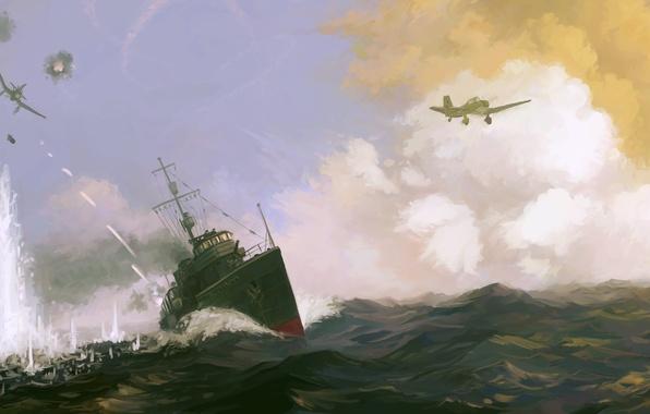 Картинка море, атака, рисунок, корабль, взрывы, бой, арт, самолеты, эсминец, трассеры, Валериан Куйбышев, Valerian Kuybyshev, Soviet …