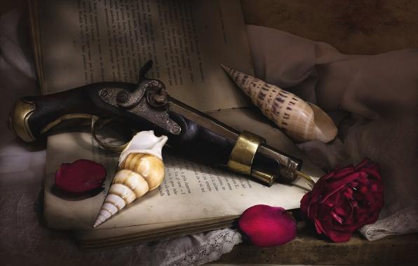 Картинка пистолет, роза, текстура, лепестки, ракушка, книга, натюрморт