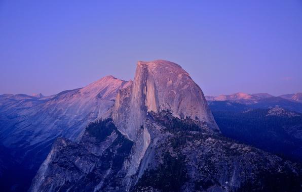 Картинка закат, Калифорния, США, лунный свет, Национальный парк Йосемити, гранитная скала, Хаф-Доум