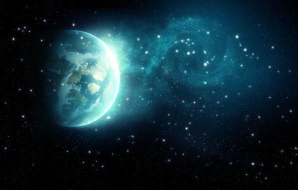 Картинка космос, звезды, пространство, земля, планета