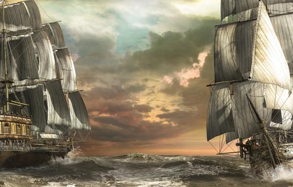 Картинка море, волны, корабли, арт, парусники