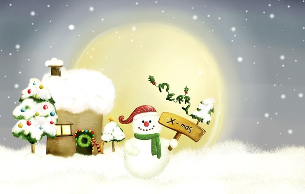 Фото обои снеговик, рождество, рисунок, новый год
