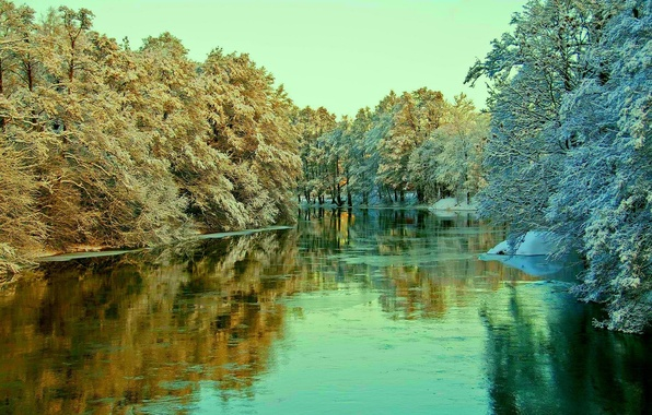 Картинка зима, иней, небо, снег, деревья, пейзаж, река